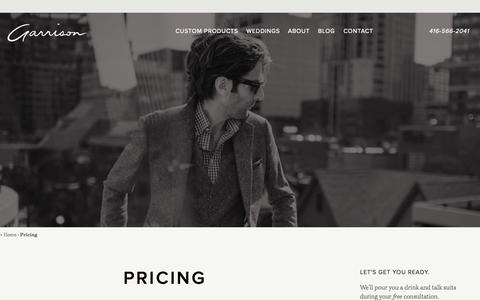 Screenshot of Pricing Page garrisonbespoke.com - Pricing - Garrison Bespoke - captured Oct. 28, 2014