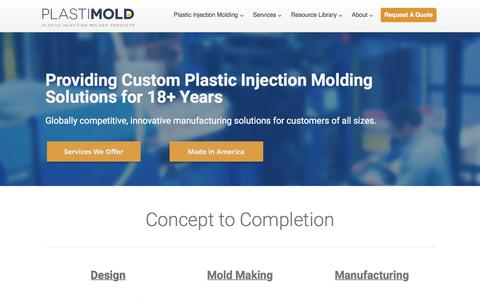 Screenshot of Home Page plastimoldproducts.com - Plastic Injection Molding Company | Plastimold Products | Florida USA - captured July 19, 2018