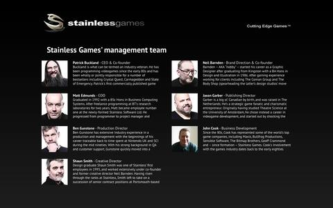 Screenshot of Team Page stainlessgames.com - Management | Stainless Games - captured Sept. 30, 2014