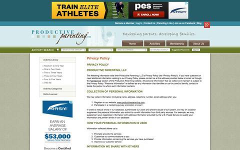 Screenshot of Privacy Page productiveparenting.com - Productive Parenting - Privacy Policy: Preschool Activities, Toddler Activities, Baby Development - captured Sept. 30, 2014