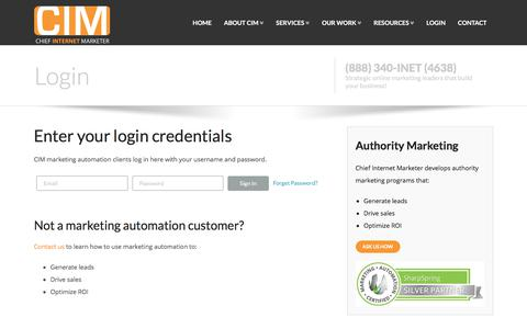 Screenshot of Login Page chiefinternetmarketer.com - Marketing Automation Login | Chief Internet Marketer - captured July 17, 2018