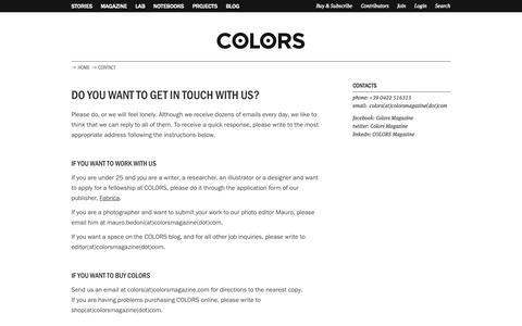 Screenshot of Contact Page colorsmagazine.com - Contact | COLORS Magazine - captured Sept. 19, 2014