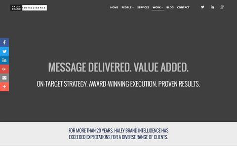 Screenshot of Case Studies Page haleybrand.com - Case Studies – Haley Brand Intelligence - captured Sept. 26, 2018