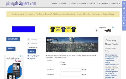 Screenshot of Signup Page pipingdesigners.com - Sign up - captured Sept. 28, 2018