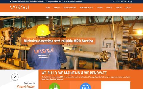 Screenshot of Home Page vasavipower.com - Power Plant | Gas Turbine | Steam Turbine | Boiler | HRSG | Condenser - captured Sept. 19, 2015