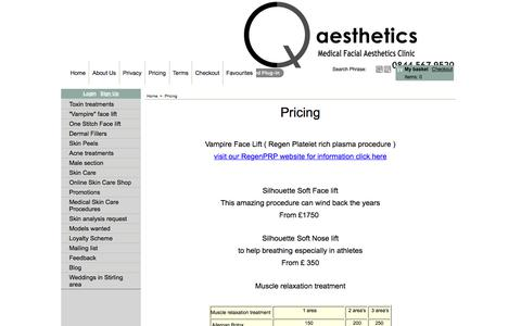 Screenshot of Pricing Page qaesthetics.co.uk - Pricing - captured July 16, 2018