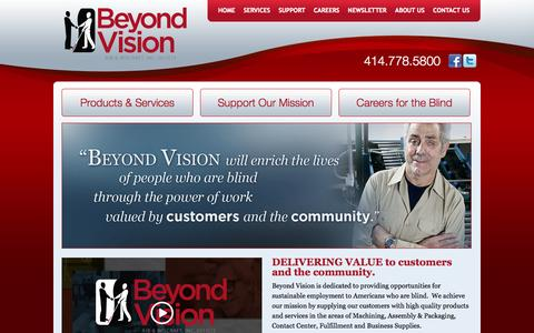 Screenshot of Home Page beyondvision.com - Beyond Vision | Beyond Vision provides opportunities for sustainable employment to individuals who are blind. - captured Oct. 5, 2014