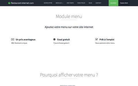 Screenshot of Menu Page restaurant-internet.com - Module menu pour site internet restaurant - Restaurant-Internet.com - captured Nov. 3, 2014