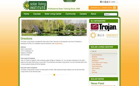Screenshot of Maps & Directions Page solarliving.org - Solar Living Institute -  Directions - captured Oct. 26, 2014