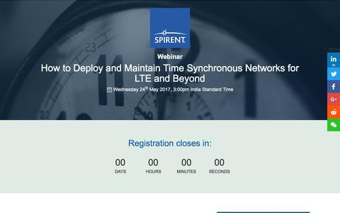 Screenshot of Landing Page spirent.com - Webinar: How to Deploy and Maintain Time Synchronous Networks for LTE and Beyond - captured July 4, 2017