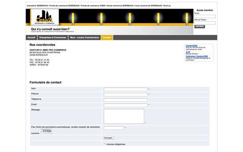 Screenshot of Contact Page octissimo.com - CENTURY21 IMMO PRO COMMERCE - Agence Century21 à Bordeaux spécialisée dans les fonds de commerce - Contact - captured Sept. 25, 2014