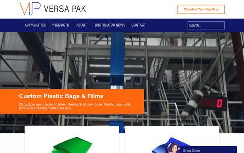 Screenshot of Home Page versa-pak.com - Versa Pak LTD | Plastic Packaging, Bags, Rolls and Materials - captured Sept. 21, 2018