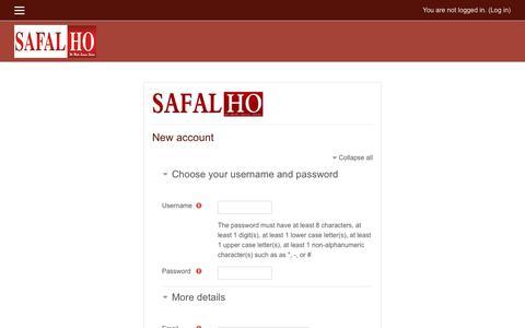 Screenshot of Signup Page safalho.com - New account - captured Nov. 5, 2018