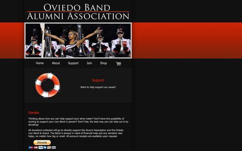 Screenshot of Support Page oviedobandalumni.com - Oviedo Band Alumni Association - captured Oct. 6, 2014