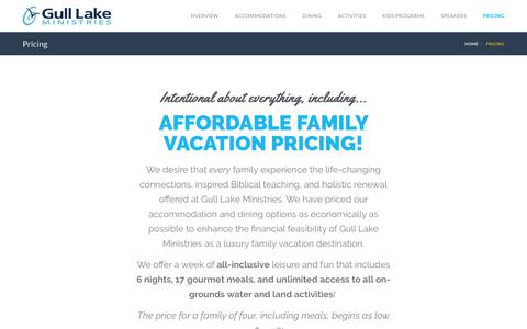 Screenshot of Pricing Page gulllake.org - Pricing - Gull Lake Ministries Christian Family Resort & Conference Center - captured Sept. 30, 2018