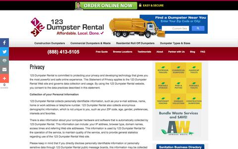 Screenshot of Privacy Page 123dumpsterrental.com - Privacy | Commercial, Residential Roll Off, Construction Demolition Dumpsters | Pool & Building Demolition | 123 Dumpster Rental - captured April 2, 2018