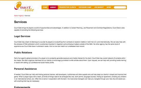 Screenshot of Services Page court-side.com - Services » Court Side - global management and representation - captured Sept. 25, 2014