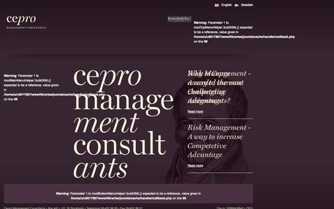 Screenshot of Home Page cepro.se - Cepro Management Consultants - captured Oct. 2, 2014