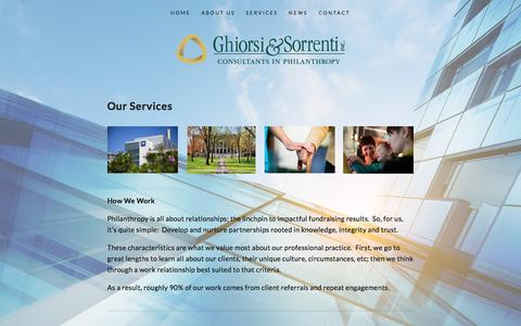 Screenshot of Services Page gsiphilanthropy.com - Services — Ghiorsi & Sorrenti, Inc. - captured Nov. 6, 2016