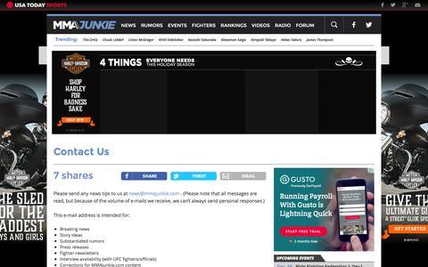 Screenshot of Contact Page mmajunkie.com - Contact Us | MMAjunkie - captured Dec. 29, 2015
