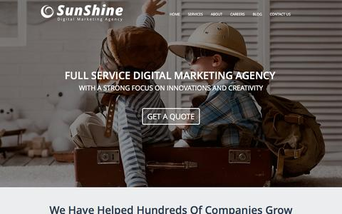 Screenshot of Home Page ssdma.com - SunShine Digital Marketing Agency - captured Sept. 23, 2014