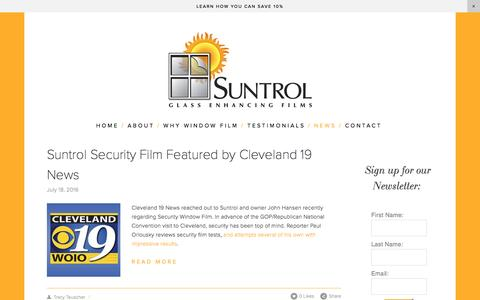 Screenshot of Press Page suntrol.com - Suntrol Window Film  — Suntrol News - captured Dec. 11, 2016