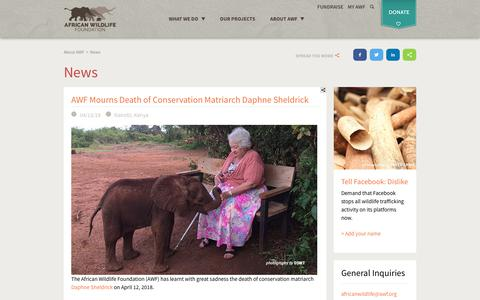 Screenshot of Press Page awf.org - News | African Wildlife Foundation - captured May 12, 2018