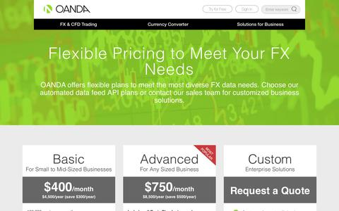 Screenshot of Pricing Page oanda.com - OANDA | Solutions For Business | Pricing and Plans - captured Oct. 26, 2016