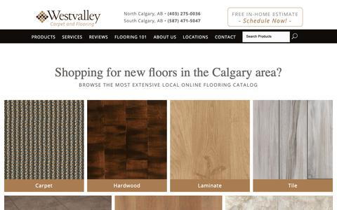 Screenshot of Products Page westvalleyflooring.com - Shop for flooring in Calgary AB from Westvalley Carpet & Flooring - captured Oct. 20, 2018