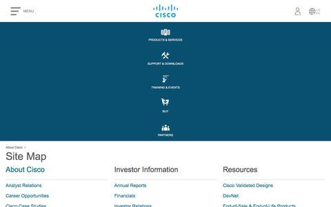 Screenshot of Site Map Page cisco.com - Site Map - Cisco - captured Aug. 2, 2018