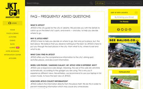 Screenshot of Privacy Page FAQ Page jktgo.com - FAQ - Frequently Asked Questions | JKTGO.com | Jakarta City Guide - captured Jan. 16, 2016