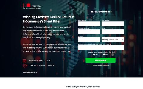 Screenshot of Landing Page feedvisor.com - Winning Tactics to Reduce Returns: E-Commerce's Silent Killer - captured May 29, 2018