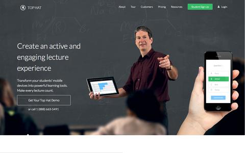 Screenshot of Home Page tophat.com - Bring Your Lectures into the 21st Century - captured Sept. 17, 2014