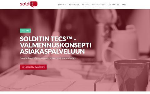 Screenshot of Home Page soldit.fi - Solditin myynti- ja asiakaspalvelukoulutukset - captured Oct. 7, 2014