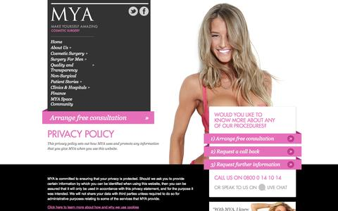 Screenshot of Privacy Page mya.co.uk - Privacy Policy Information | MYA - captured Sept. 19, 2014