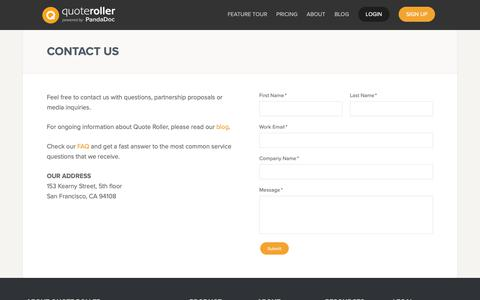 Screenshot of Contact Page FAQ Page quoteroller.com - Contact Us - Quote Roller - captured May 10, 2019