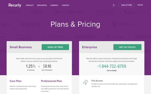 Screenshot of Pricing Page recurly.com - Pricing | Expect Transparent Fees | Recurly - captured April 22, 2016