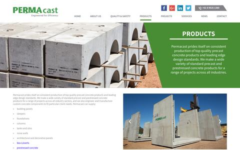 Screenshot of Products Page permacast.com.au - Precast Concrete Products Perth, Precast Concrete Panels, Precast Concrete Blocks | PERMAcast - captured July 9, 2016