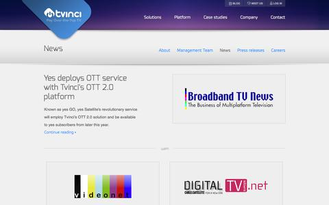 Screenshot of Press Page tvinci.com - Tvinci – News - captured Sept. 17, 2014