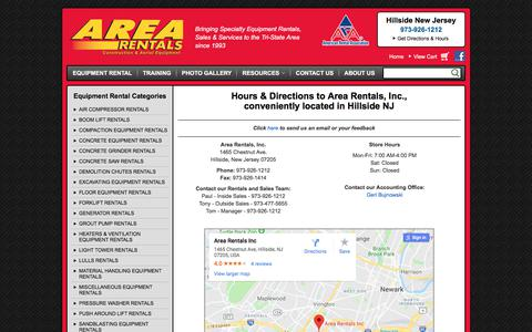 Screenshot of Contact Page Maps & Directions Page arearentalsinc.com - How to contact Area Rentals, Inc. in Hillside NJ | Hours & Directions to Area Rentals, Inc., serving New Jersey, New York & Connecticut - captured Feb. 17, 2018