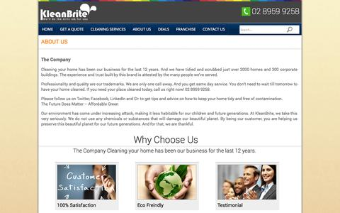 Screenshot of About Page kleanbritehomeservice.com.au - ABOUT US | kleanbritehomeservice - captured Sept. 22, 2014