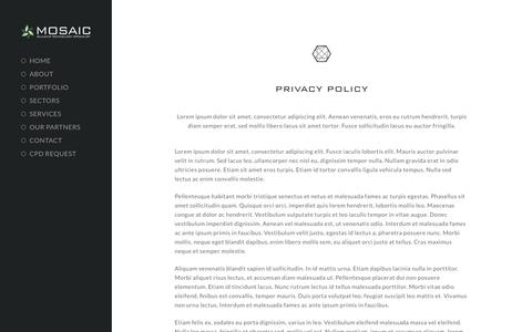 Screenshot of Privacy Page mosaic-av.com - Privacy Policy - Mosaic Audio & Visual Ltd - captured Oct. 19, 2018