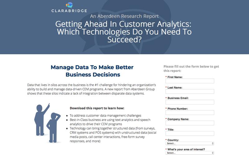 Aberdeen Research Report – Getting Ahead In Customer Analytics: Which Technologies Do You Need To Succeed?