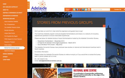 Screenshot of Case Studies Page adelaideconvention.com.au - Stories from previous groups | Adelaide Convention Bureau - captured Oct. 4, 2014