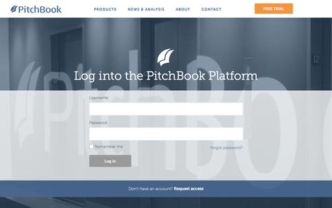 Screenshot of Login Page pitchbook.com - Log into the PitchBook Platform - captured July 13, 2016
