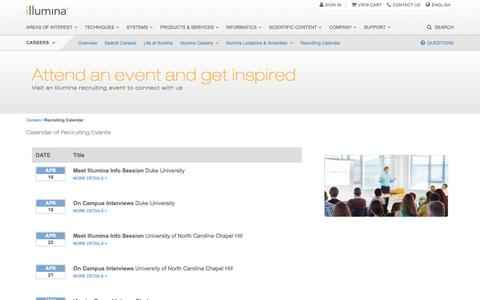 Screenshot of illumina.com - Illumina Recruiting | Events calendar - captured Jan. 25, 2017