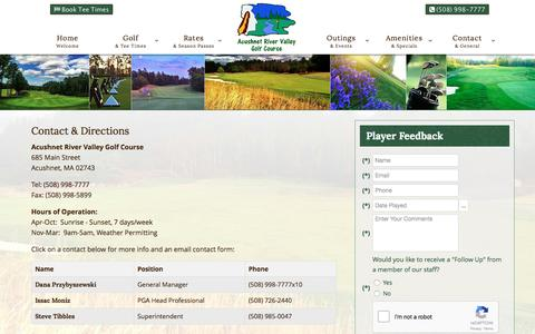 Screenshot of Contact Page Maps & Directions Page golfacushnet.com - Acushnet River Valley | Championship Public Golf Course | Acushnet, MA - Contact & Directions - captured April 26, 2017