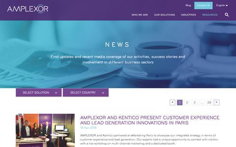 Screenshot of Press Page amplexor.com - News - AMPLEXOR - captured May 10, 2018