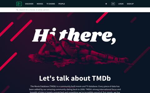 Screenshot of About Page themoviedb.org - About TMDb — The Movie Database (TMDb) - captured June 28, 2019
