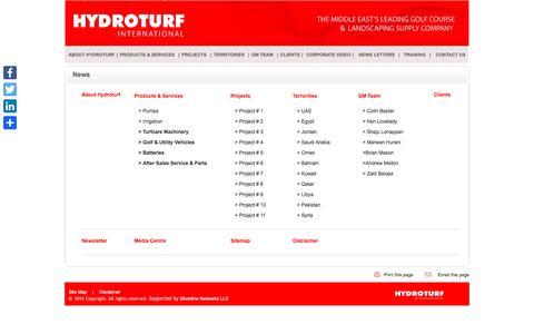 Screenshot of Site Map Page hydroturfinternational.com - HYDROTURF INTERNATIONAL,Golf & Utility Vehicles,Club Car Uae, Trojan Batteries, Turf care Machinery, Pumps, RO Desalination, Landscaping UAE - captured Nov. 15, 2016